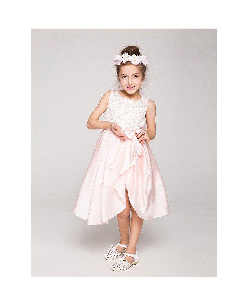 Cute Pink Short Chiffon Flower Girl Dress With Lace Bodice Gemgrace