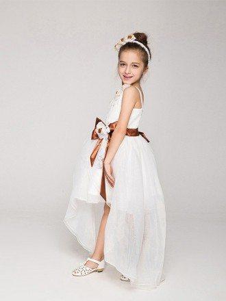 One Shoulder Hi-Lo Organza Lace Flower Girl Dress with Brown Sash
