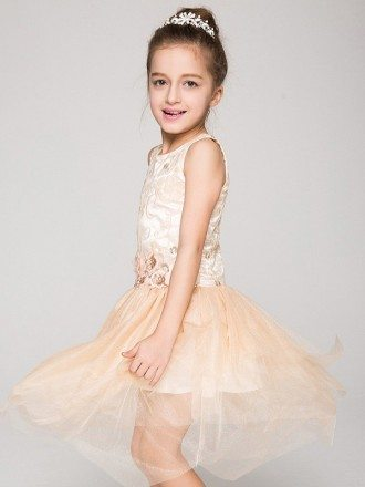 Short Asymmetrical Tulle Pageant Dress with Embroidered Bodice