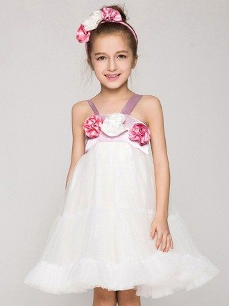 Empire Waist Short Tulle Ballroom Pageant Dress with Flowers