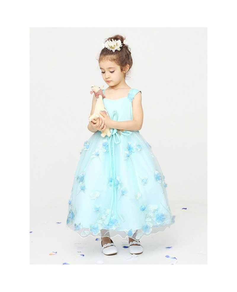 Petal Ball Gown Flower Girl Dress In Baby Blue Color Gemgrace