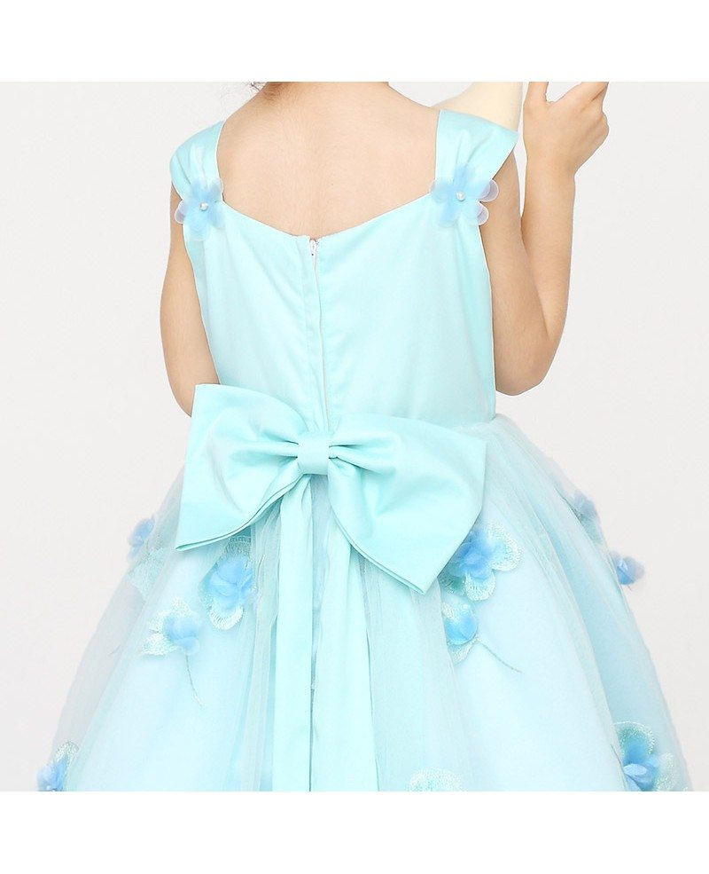 Petal Ball Gown Flower Girl Dress in Baby Blue Color - GemGrace