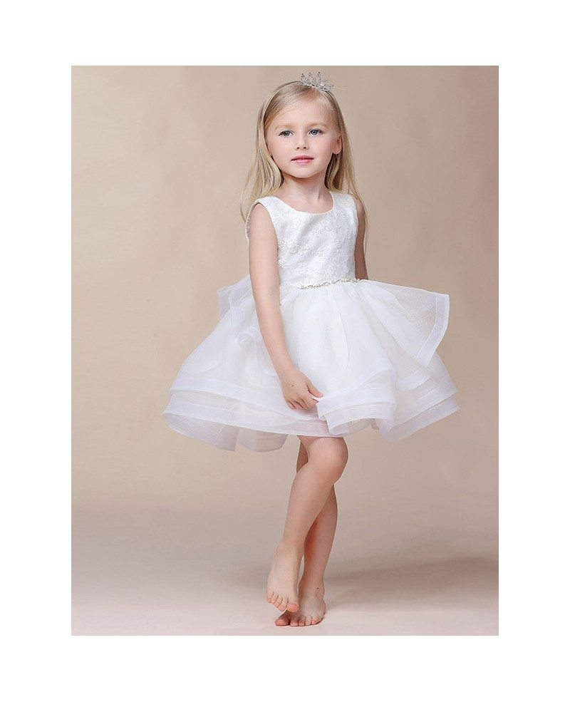 Short Tutu Organza Lace Flower Girl Dress With Beaded