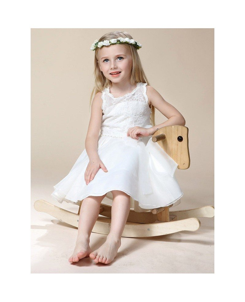 Short White Beaded Flower Girl Dress With Lace Bodice Gemgrace