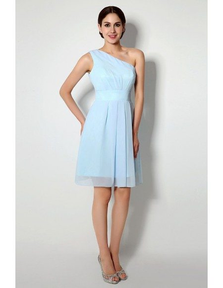 Short one shoulder tea length dridesmaid dress c14260 79 for One shoulder tea length wedding dress