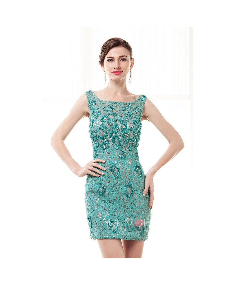 Sheath Scoop Neck Short Lace Prom Dress With Beading #CY0019 $154 ...