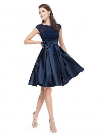A-line Round Neck Knee-length Satin Party Dress With Cap Sleeves