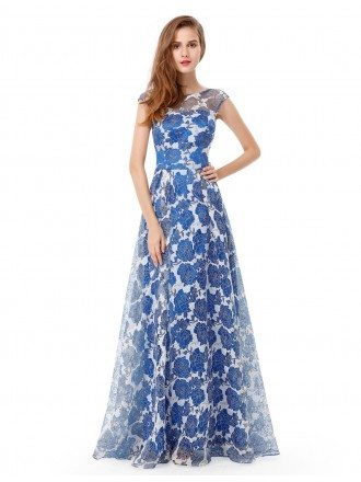 A-line Round Neck Floor-length Floral Print Dress With Cap Sleeves
