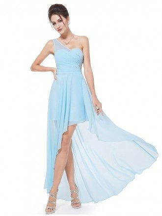 Sexy One-shoulder Chiffon High-low Dress With Rhinestones