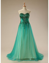 a line sweetheart sweep train tullp prom dress