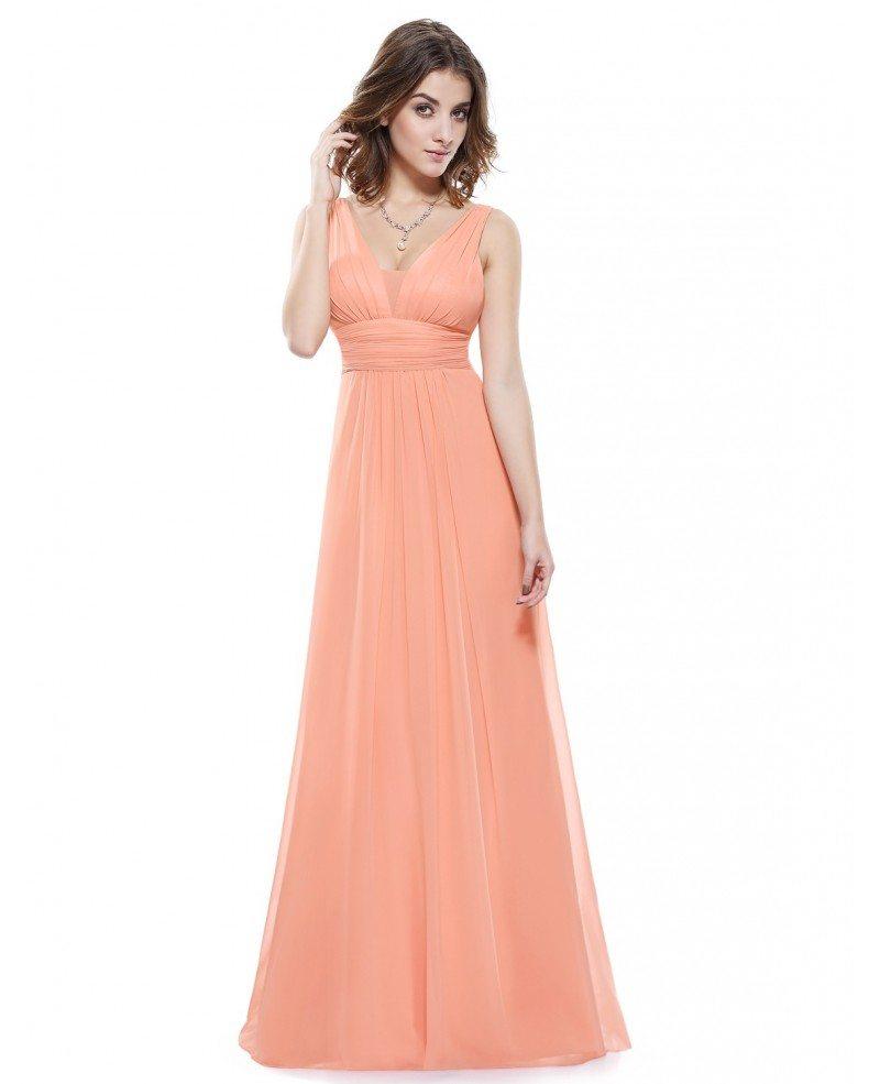Empire V-neck Floor-length Chiffon Bridesmaid Dress With Ruffles ...