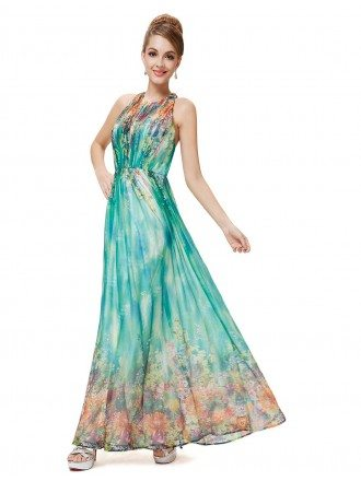 A-line Halter Floor-length Floral Print Dress With Open Back
