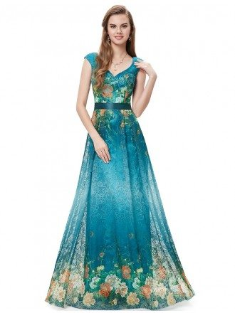 A-line V-neck Floor-length Floral Print Dress With Cap Sleeves