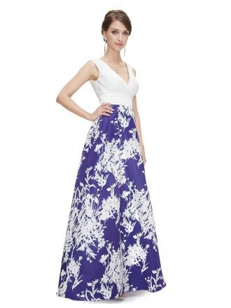 A-line V-neck Floor-length Floral Print Dress With Open Back
