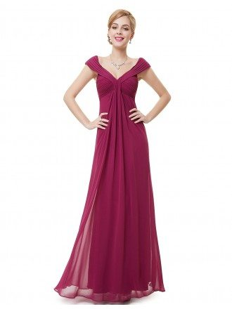 A-line V-neck Floor-length Chiffon Formal Dress With Cap Sleeves