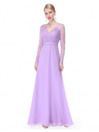 A-line V-neck Floor-length Chiffon Formal Dress With Long Sleeves
