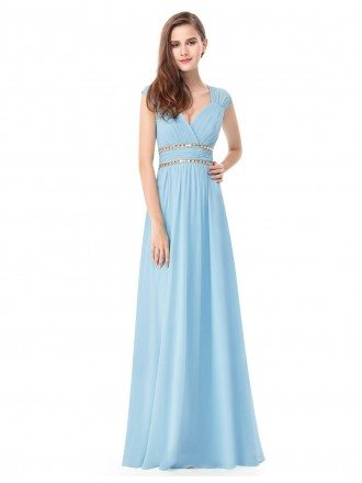 Empire V-neck Floor-length Chiffon Formal Dress With Beading