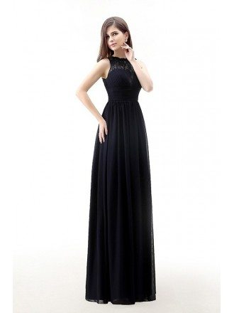 A-Line Scoop Neck Sweep Train Chiffon Prom Dress With Appliquer Lace