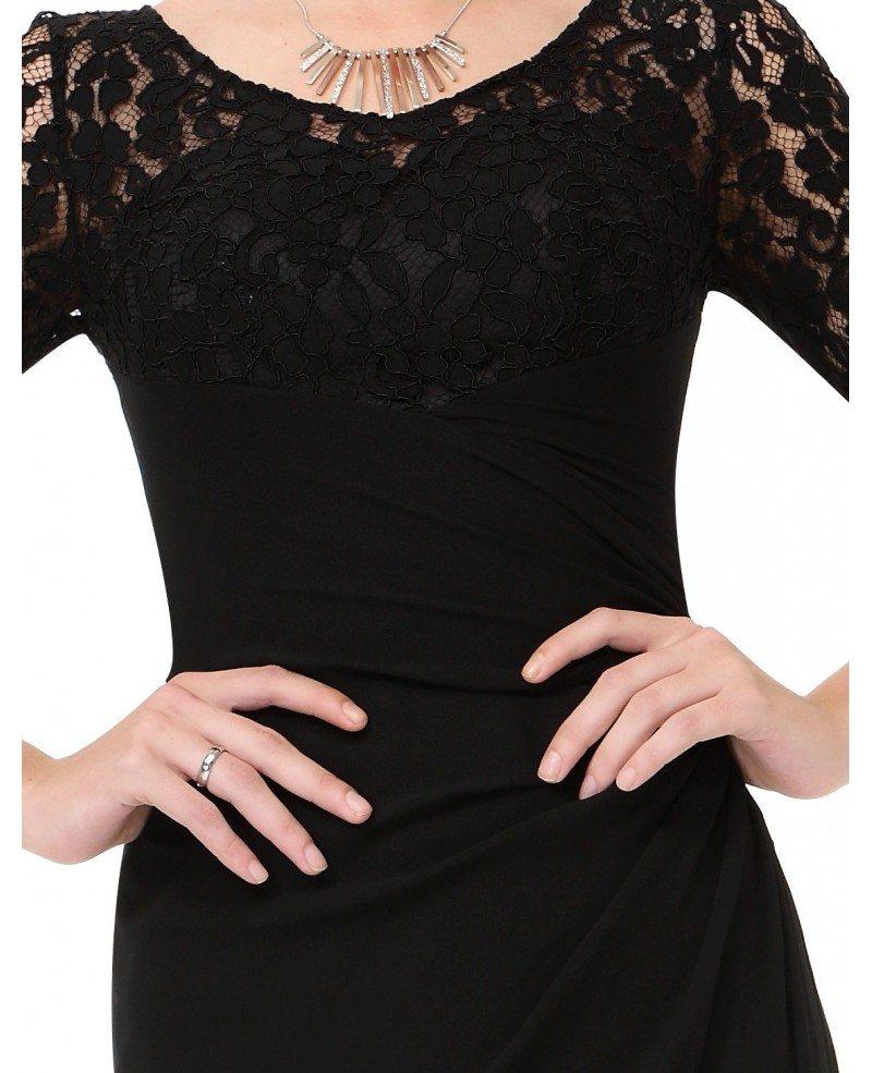 scoop neck black floor length lace
