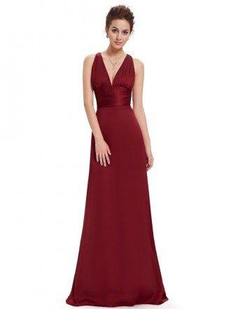 A-line V-neck Chiffon Floor-length Bridesmaid Dress