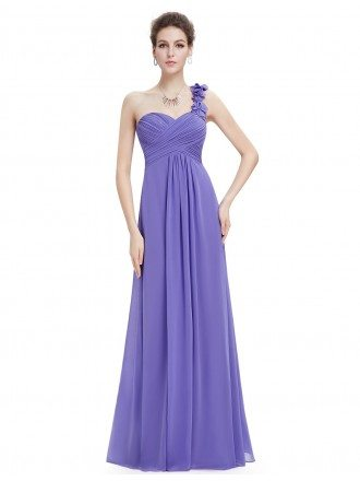 Empire One-shoulder Chiffon Floor-length Bridesmaid Dress With Ruffle