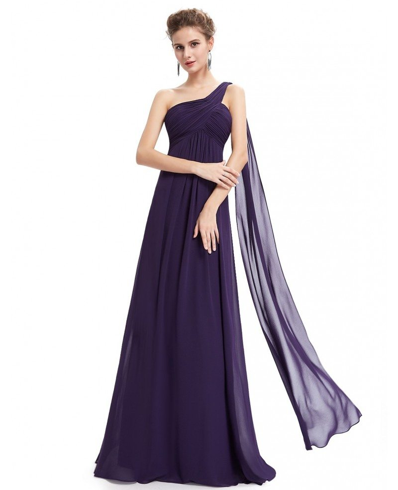 Empire one shoulder chiffon floor length bridesmaid dress for Mid length wedding dress