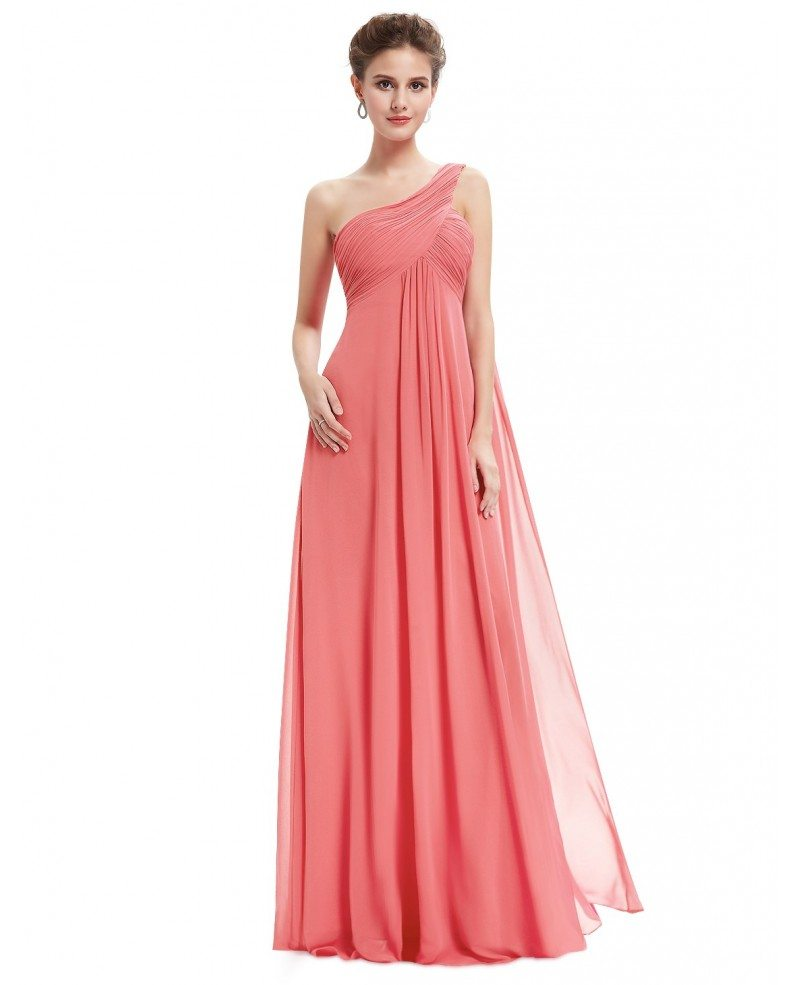 Empire One-shoulder Chiffon Floor-length Bridesmaid Dress With ...