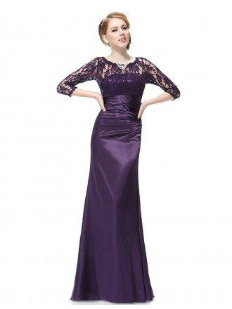 Elegant Sheath Lace Scalloped Neckline Evening Dress With 3/4 Sleeves