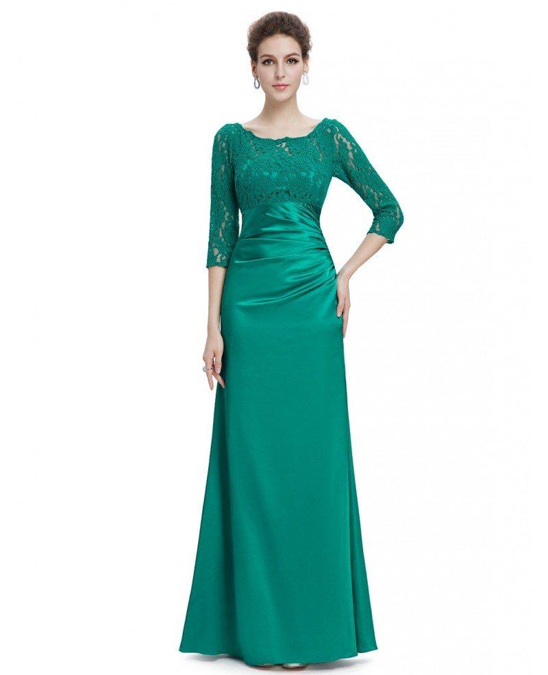 Designer Cocktail Dresses: Elegant Sheath Lace Scalloped Neckline Evening Dress With