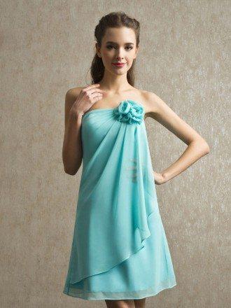 Blue Chiffon Strapless Short Bridesmaid Dress with Ruffles