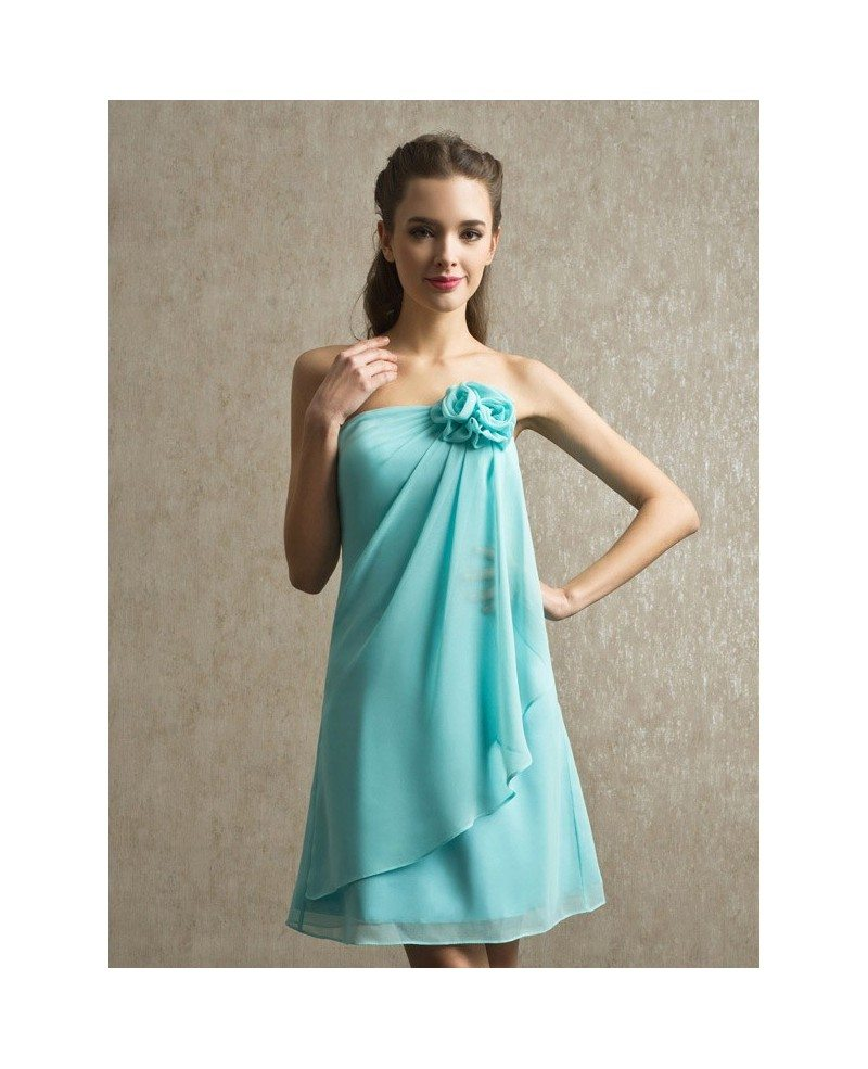 Bridesmaid Dresses: Blue Chiffon Strapless Short Bridesmaid Dress With Ruffles