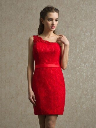 Little Red One Shoulder Sheath Lace Short Bridesmaid Dress with Sash