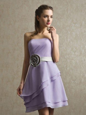 Strapless Ruffled Lavender Chiffon Short Bridesmaid Dress with Sash