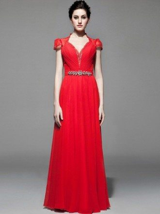 Red Beaded Long Chiffon Cap Sleeve Bridal Party Dress