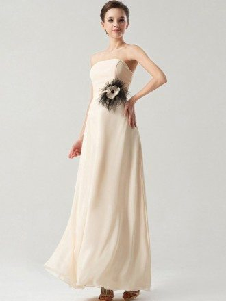 Simple Elegant Long Chiffon Bridesmaid Dress Strapless
