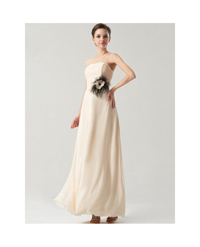 Simple elegant long chiffon bridesmaid dress strapless for Elegant wedding party dresses