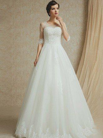 Modest Sheer Sleeve Lace Trim Ballgown Wedding Dress