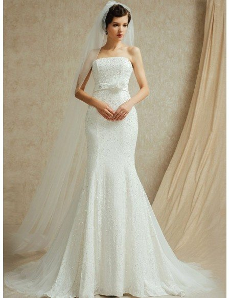 Perfect Fitted Mermaid Strapless Wedding Dress With Beading BS024 3289