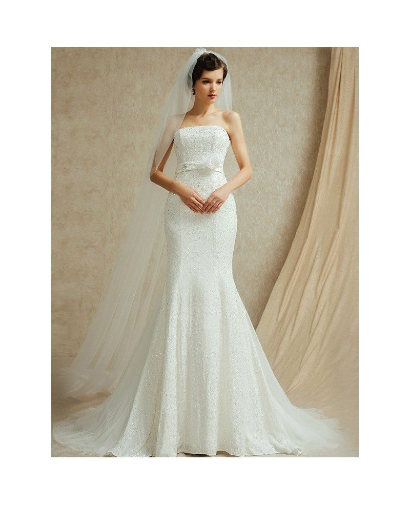 Perfect Fitted Mermaid Strapless Wedding Dress with ...