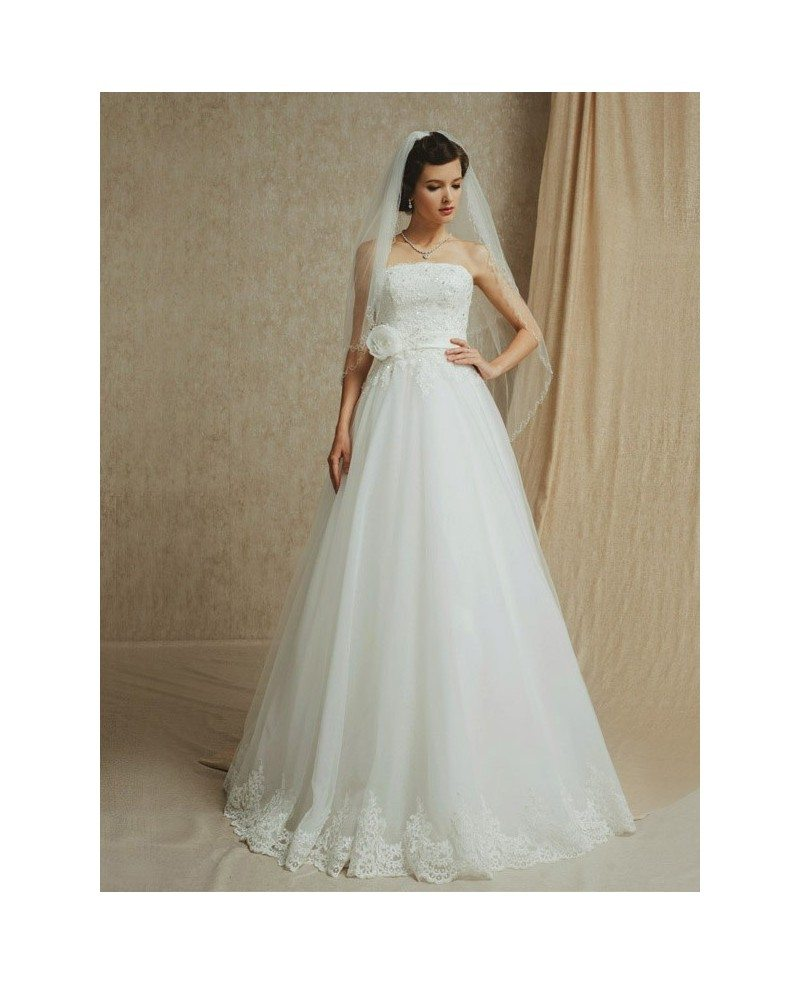 Lace Trim Long Tulle Empire Waist Wedding Dress Strapless with Sash ...