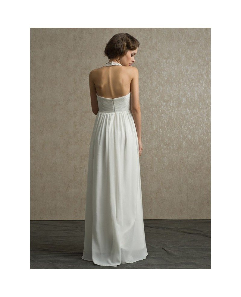 Wedding Gown Chiffon: Unique Beaded Long Halter Empire Chiffon Wedding Dress