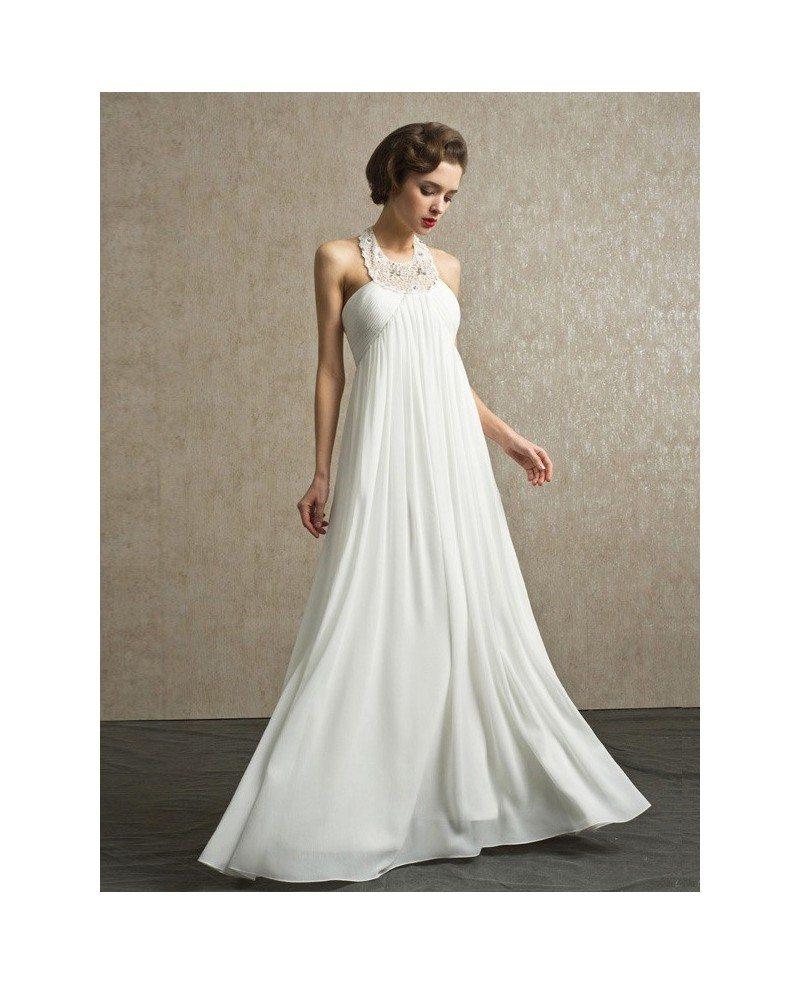 Unique Beaded Long Halter Empire Chiffon Wedding Dress #BS026 $170.8 ...