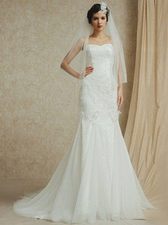Sweetheart Mermaid Lace with Tulle Custom Wedding Dress