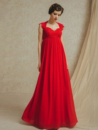 Long Red Chiffon Empire Waist Maternity Wedding Party Dress