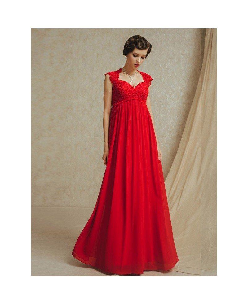 Long red chiffon empire waist maternity wedding party for Maternity dresses for wedding party
