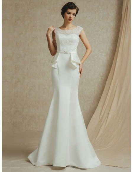 vintage lace cap sleeve long fitted mermaid satin wedding dress  bs030  278 9