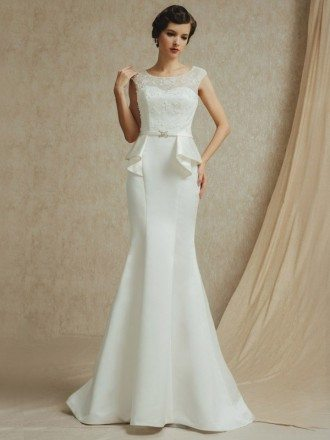 Vintage Lace Cap Sleeve Long Fitted Mermaid Satin Wedding Dress