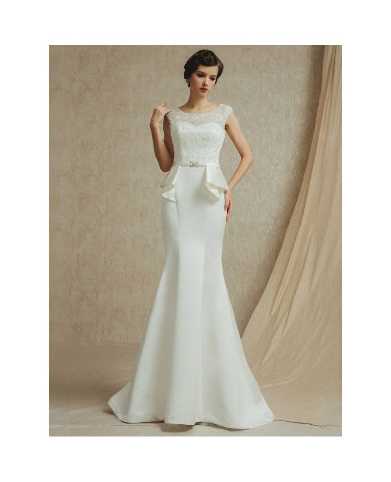 Vintage lace cap sleeve long fitted mermaid satin wedding for Vintage satin wedding dresses