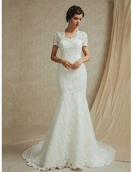 Modest lace short sleeves mermaid long train wedding dress for Short wedding dress with long train