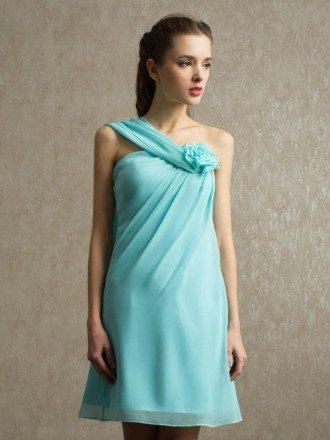 Pool Chiffon Short One Strap Bridesmaid Dress